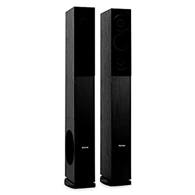 Skytronic SHFT52B Tower Speakers - Pair, Floor Standing, HiFi Home Theatre, 500W, Side-Subwoofer, Elegant Design, Wide Frequency Range, 88dB SPL, 3-Way System, 8 Ohm Impedance, Black from Skytronic
