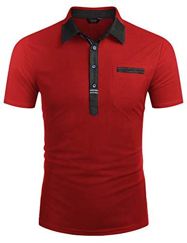 COOFANDY Kurzarm Poloshirt Herren Slim Fit Sommer Tshirt Atmungsaktiv Sport Sportstil Polohemd Herren Freizeit Polo