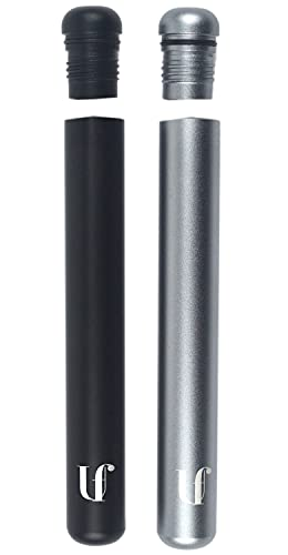 Ufiore Metal Doob Tube Container, Smell Proof, Waterproof, Lightweight, 2 Pack (Black/Grey)