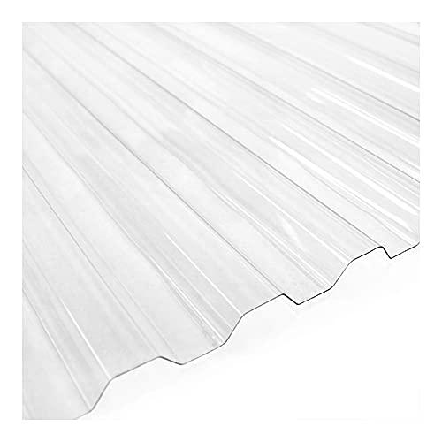 Ezooza Placa corrugada de policarbonato SuperDur. Greca 76/18, grosor 1 mm, transparente, 126,5 x 300 cm (5 hojas)