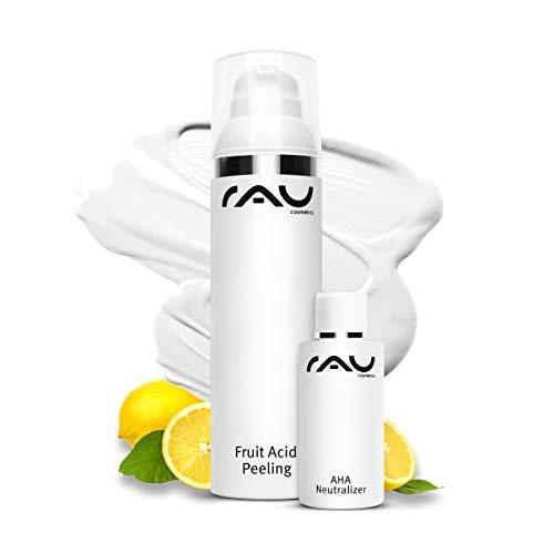 RAU Cosmetics AHA + 2% BHA Fruchtsäurepeeling Fruit Acid Peeling 100 ml - Peeling gegen Mitesser, Unreine, Reife, Trockene Haut & bei Neurodermitis - Mandelsäure, Salicylsäure & Lactobionsäure