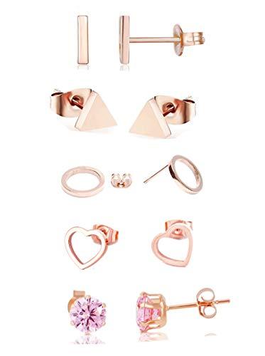 5 pares de pendientes para mujer chapados en oro rosa de 14 quilates, bola de acero inoxidable con circonita, tamaño pequeño, pendientes para mujeres y niñas, sin níquel,