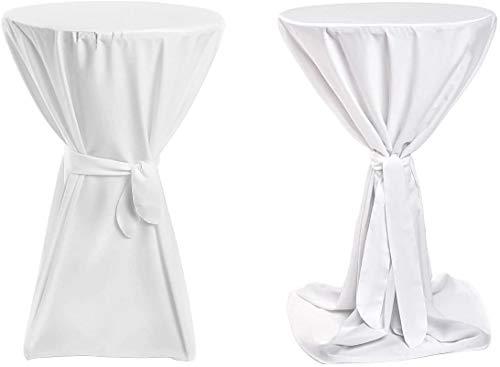 Stehtischhussen Premium für Bistrotische/Bartische Tisch-Überzug Weiß Ø 70cm