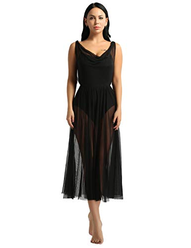 TiaoBug Vestido de Danza Mujer Clásica Maillots Ballet Baile Leotardo Gimnasia con Tutú Falda Larga de Gasa para Danza Contemporanea Sevillanas Flamengo Niñas Negro Medium