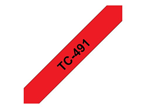 Brother TC491 Schriftbandkassette 9mm x 7,7 m laminiert rot/schwarz für P-touch 8e 500/2000/3000/5000