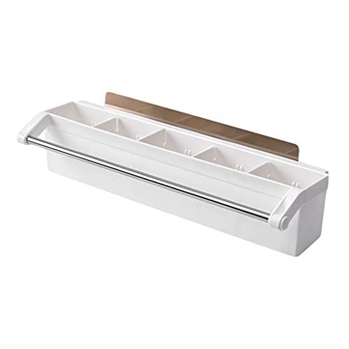 OUMTG Organizador de Almacenamiento de Rack de baño con Barra de Toalla de Barra de Ducha con Pegatina Adhesiva Estante de baño (Color : White)