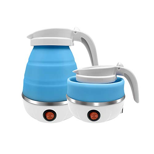 Foldable Electric Kettle,Travel Portable Kettle with Foldable Silicone Electric Insulation Heating Boiler Tea Pot for Camping 110V 600ML