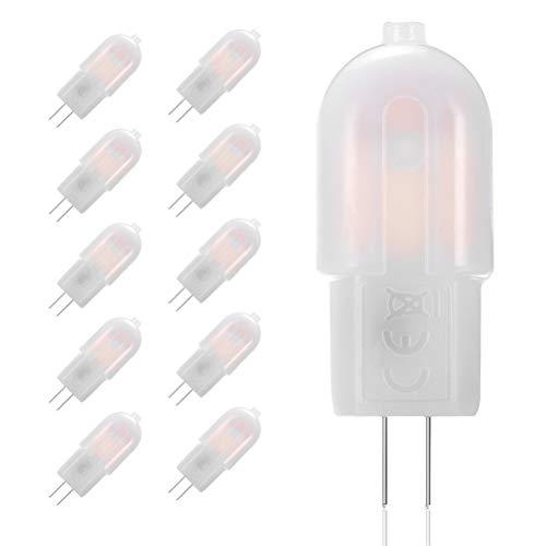 GVOREE Lampadina LED G4 2W 180LM Bianco Caldo 3000K, equivalente a 20W Lampada Alogena, DC/AC 12V, Non Dimmerabile,Confezione da 10
