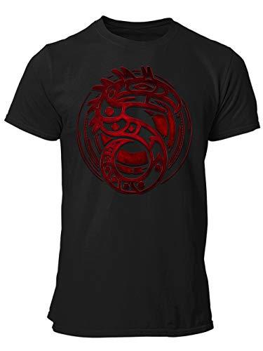 Preisvergleich Produktbild clothinx Shadowrun Emblem / Lizenziertes Original-Design / Passend Für Chummer Perfekt Für Die Nächste Pen and Paper Runde / Hochwertig Bedruckt Herren T-Shirt Schwarz Gr. L