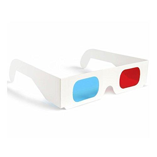 Pack de 10 gafas 3D anaglíficas de cartón blanco con lentes de color rojo/azul