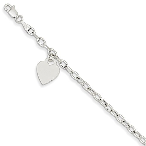 14k White Gold Dangle Heart Bracelet 7.5 Inch Charm W/charm/love Fine Jewelry For Women Gifts For Her