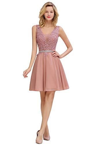 MisShow Mädchen V Ausschnitt Abendkleider Kurz mit Pailetten Ballkleider Abschlusskleider Silvester Kleider Altrosa 44