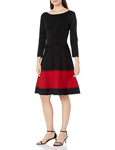 Eliza J Women's 3/4 Sleeve Knit Fit and Flare Casual Dress, Black, Large