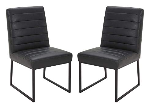 """Amazon Brand – Rivet Decatur Modern Faux Leather Dining Chair, 21""""W, Set of 2, Black"""