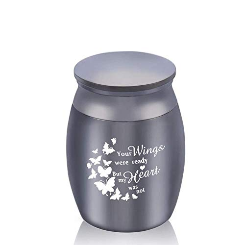DXQH Urns For Ashes Medium Butterfly Pattern Cremation Urns Funeral Urn For Ashes Holder Human Small Keepsake - Your Wings Were Ready My Heart Was Not