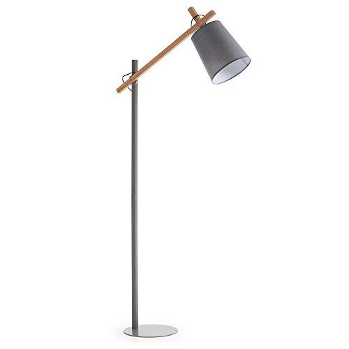 Kave Home - Lámpara de pie Kosta gris de acero, madera de haya y algodón 100%