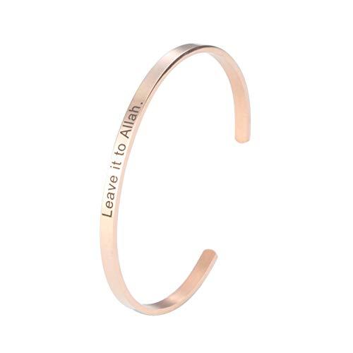 Daesar Armband Edelstahl Damen Breit 4 MM Leave it to Allah Rosegold Frauen Armreif Uhr Partnerarmband