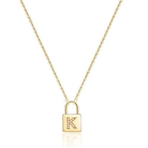 Turandoss Gold Initial Lock Necklaces for Women, 14K Gold Plated Dainty Personalized Initial CZ Letter Padlock Pendant Gold Lock Necklaces for Women Girls Trendy Jewelry Gifts Gold