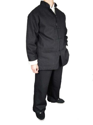 100% Cotton Black Kung Fu Martial Arts Tai Chi Uniform Suit XL