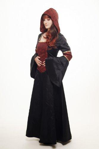 DRESS ME UP – Kostüm Damen Damenkostüm aufwändiges Kleid mit Haube Mittelalter Romantik Elfe Gotik Gothic Burgfräulein Weinrot-Schwarz L076 Gr. 42 / M - 5