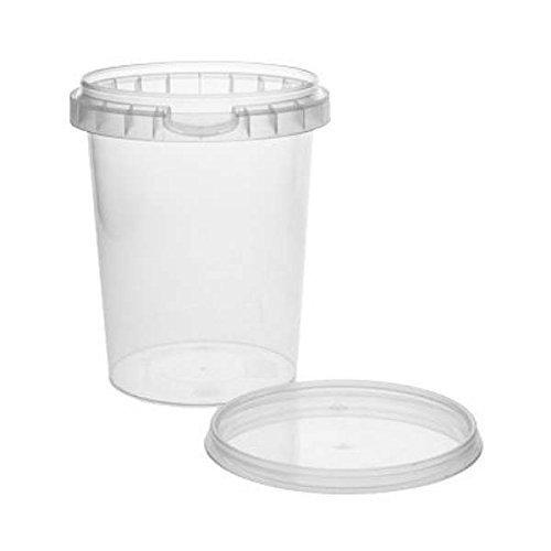 mikken 10 x Kunststoffdose Plastikbecher mit Deckel 520 ml, BPA-frei, lebensmittelecht inkl. 1 Schaufel, Kunstoff PP, Transparent, 9,7