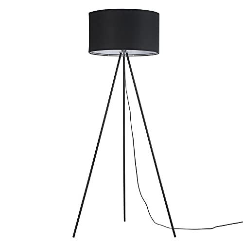 Moderna lámpara de pie con tres patas, lámpara de pie negra, casquillo E27, lámpara de pie para salón y dormitorio (negro, 1 luz)