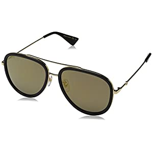 Fashion Shopping Gucci GG0062S Sunglasses – 57MM (Gold/Black, Gold)