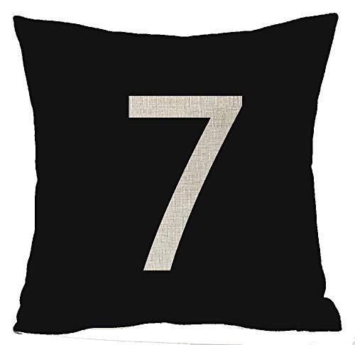 DRXX Fondo Negro Lucky Number Lucky Seven Cuatro Seis Nueve 4 6 7 9 Algodón Lino Cuadrado Tiro Cintura Funda de Almohada Funda de cojín Decorativa Funda de Almohada Sofá 45x45cm (45x45cm, 3)