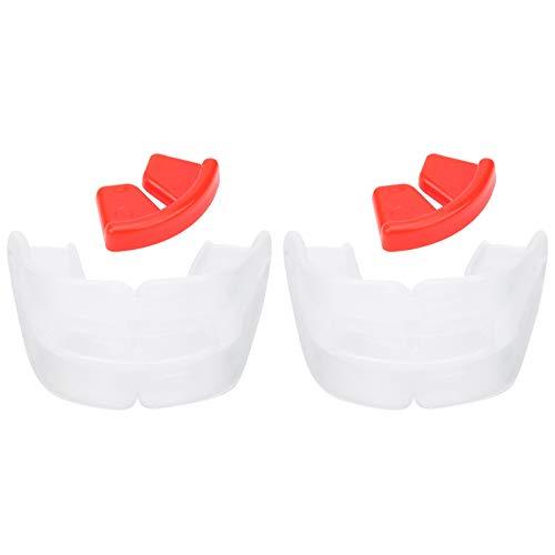 Tomanbery Gum Shield Protector Dental Inodoro Protector bucal de Silicona Seguro Dos Caras Transparente Moldeable para Sanda Boxing