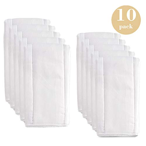 Fasoar Prefold Baby Cloth Diaper Burp Cloth Inserts 10 Pack - 6 ply 100% Unbleached Cotton, Thick Washable Absorbent Diaper Covers for Babies and Toddlers Multi-Use (10-35 lbs)