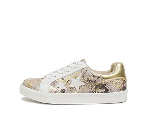 Soda Wander ~ Lace-up Double Layer Foam Padded Cushion Sock with Stars Low top Fashion Sneakers (Taupe Python, Numeric_7)