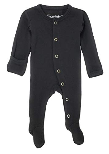 L'ovedbaby Unisex-Baby Organic Cotton Footed Overall (9-12 Months, Black)