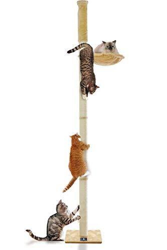 ottostyle.jp猫爪とぎ木登りキャットポール【ベージュ】突っ張り(つっぱり)式直径10cm高さ240~255cm耐荷重12kgハンモック付き拡張可能運動不足解消遊具遊び場省スペースインテリア可愛いデザイン