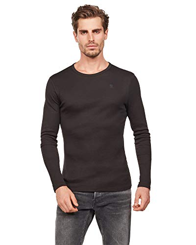 G-Star Raw Men's Base Round Neck Tee Long Sleeve 1-Pack, Black, X-Large