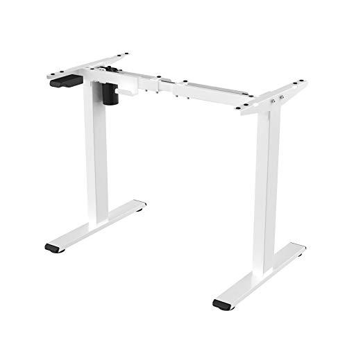 FLEXISPOT EG1W Escritorio eléctrico de altura ajustable para sentarse y pararse, mesa de oficina en casa, marco de 2 niveles con un solo motor, blanco