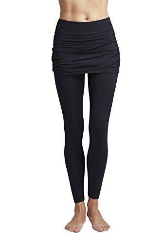 TLC Sport UK Damen Classic Taille geraffter Rock Yoga Tights Leggings mit Überrock schwarz - Schwarz - XXX Large (46)