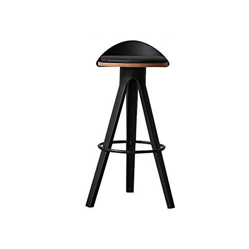 FIONAT Taburete de Bar Sillas de Bar de Madera de Haya con Reposapiés Taburetes de Bar Cuero Sintético Negro Sillas de Bar Cómodas para El Hogar Cocina Desayunador Asientos Altura 65Cm