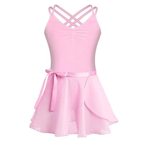 FONLAM Vestito Body da Danza Balletto per Ragazze Bambine Set di Due Pezzi Leotard Body Ballet Ginnastica Ritmica Ragazza (Rosa, 13-14 Anni)