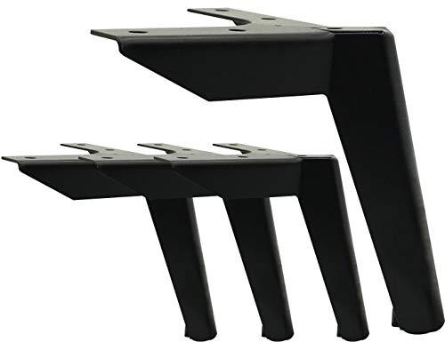4 stuks zwarte meubelpoten, metalen meubelpoten, tv-kast, bed, bank, badkamerkast, salontafel, meubelpoten, 4 stuks meubelpoten beladen 600 kg (12 cm zwart)