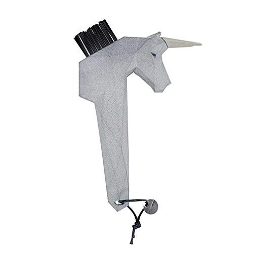 Goodsmith Einhorn Hufkratzer GRAU | Hufauskratzer in einzigartigem Einhorn Design | Ideal zum Säubern von Pferde Hufen | Austauschbare Bürste | Spitze aus hochwertigem Edelstahl