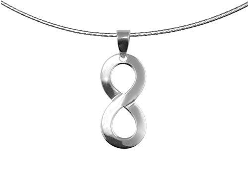 PAPOLY®, Collar Infinito en Plata DE Ley 925, símbolo de Fuerza y Amor Eterno, Regalo,Gamuza Limpia Plata 25x10cm+Cadena de Acero+Caja de Regalo.