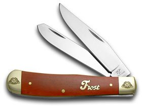 Frost Family 40th Anniversary Dark Red Smooth Bone 1/600 Trapper Pocket Knife Knives