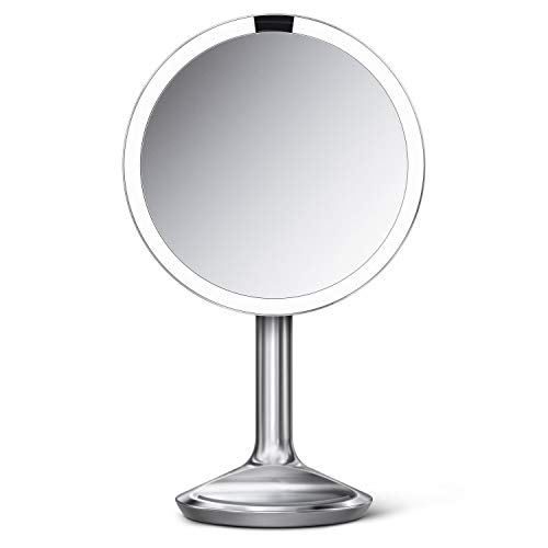 "simplehuman 8"" Round Sensor Makeup Mirror SE, 5X Magnification, Brushed Stainless Steel"