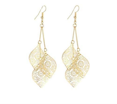 Aurélia Pieces - Pendientes para mujer chapados en oro de 18 quilates con hojas de loto y mandala, estilo oriental indio boho, pendientes largos con 3 hojas iguales