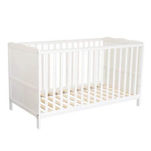Puckdaddy Babybett Nele – 140x70 cm, Umbau-Bett aus Holz in Weiß, höhenverstellbares Gitterbett mit herausnehmbaren Sproßen, Kinderbett von 0-5 Jahren