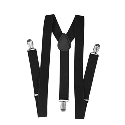 Verstellbare Hosenträger zum Aufstecken Verstellbare Unisex-Hosen Hosenträger Vollelastischer Hosenträgergürtel mit Y-Rücken für Kinder - Schwarz