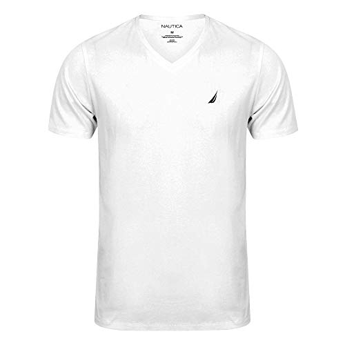 Nautica Mens Short Sleeve Solid Classic Fit V-Neck T-Shirt (S, White)