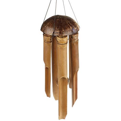 MACOSA HOME Windspiel Bambus und Kokos Klangspiel Gartendeko draussen oder drinnen Heimdeko 100 cm