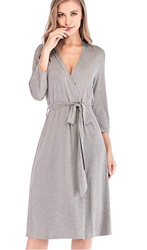 Desconocido JIER Mujeres Bata Suave Kimono de Punto Ropa de Dormir Algodón Suave Ligero Albornoz Corto Tallas Grandes Ropa de Dormir Camisa de Dormir (Gris,Large)