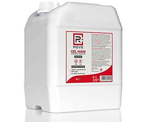 RMOVE gel igienizzante mani 5 litri 70% ALCOL gel mani profumato al limone arricchito con olii essenziali di Aloe e Timo tanica 5 litri
